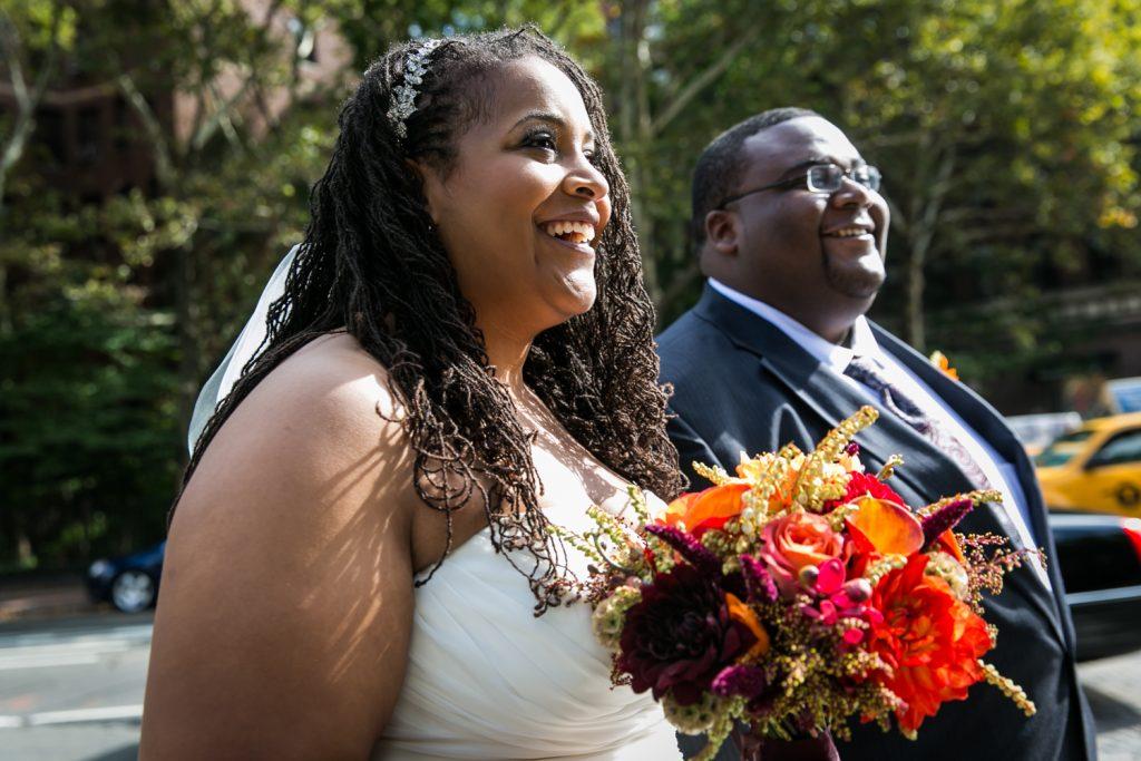 Alger House wedding portraits of bride and groom crossing street