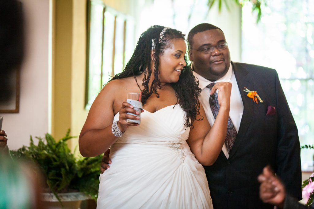 Alger House wedding portraits of bride and groom at reception