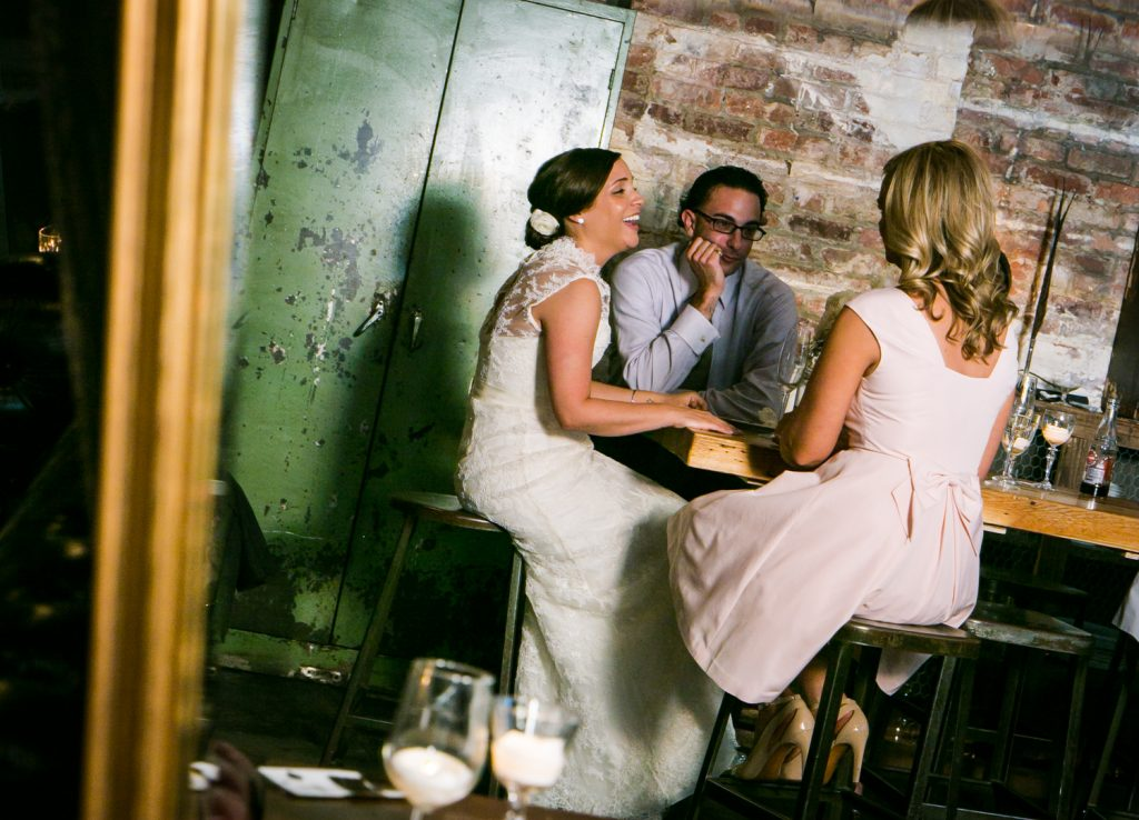 Bride laughing with guests at a Brooklyn Winery wedding