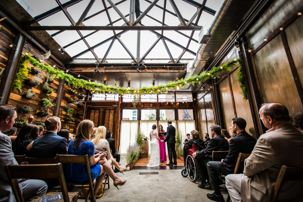 Wide shot of ceremony at a Brooklyn Winery wedding