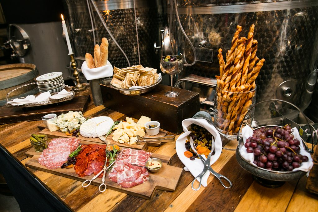 Charcuterie buffet at a Brooklyn Winery wedding
