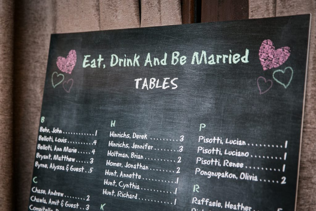 Close up on seating chart at a Brooklyn Winery wedding