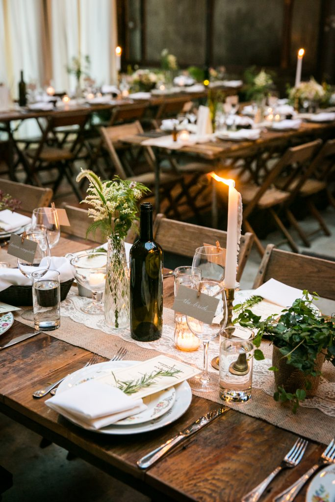 Close up on place setting at a Brooklyn Winery wedding