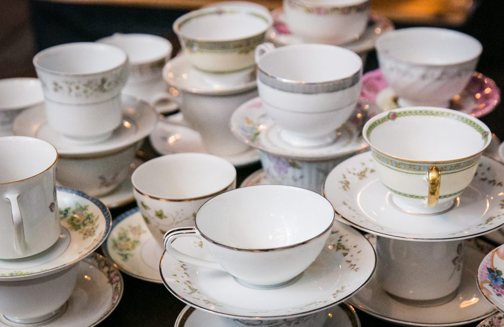 Display of teacups and saucers