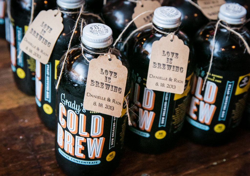 Bottles of Cold Brew given as guest favors at a Brooklyn Winery wedding