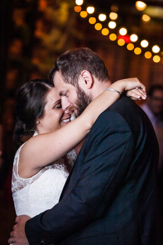 Close up of bride and groom during first dance at a Brooklyn Winery wedding