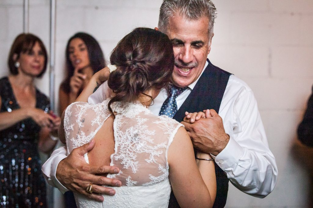 Bride dancing with father at a Brooklyn Winery wedding