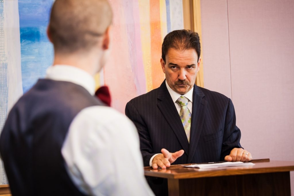 Officiant speaking during a NYC LGBTQ City Hall wedding
