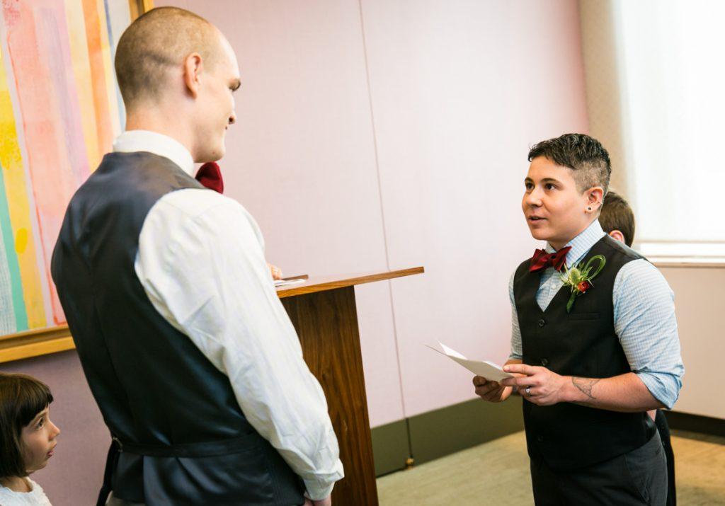 Groom saying vows during a NYC LGBTQ City Hall wedding