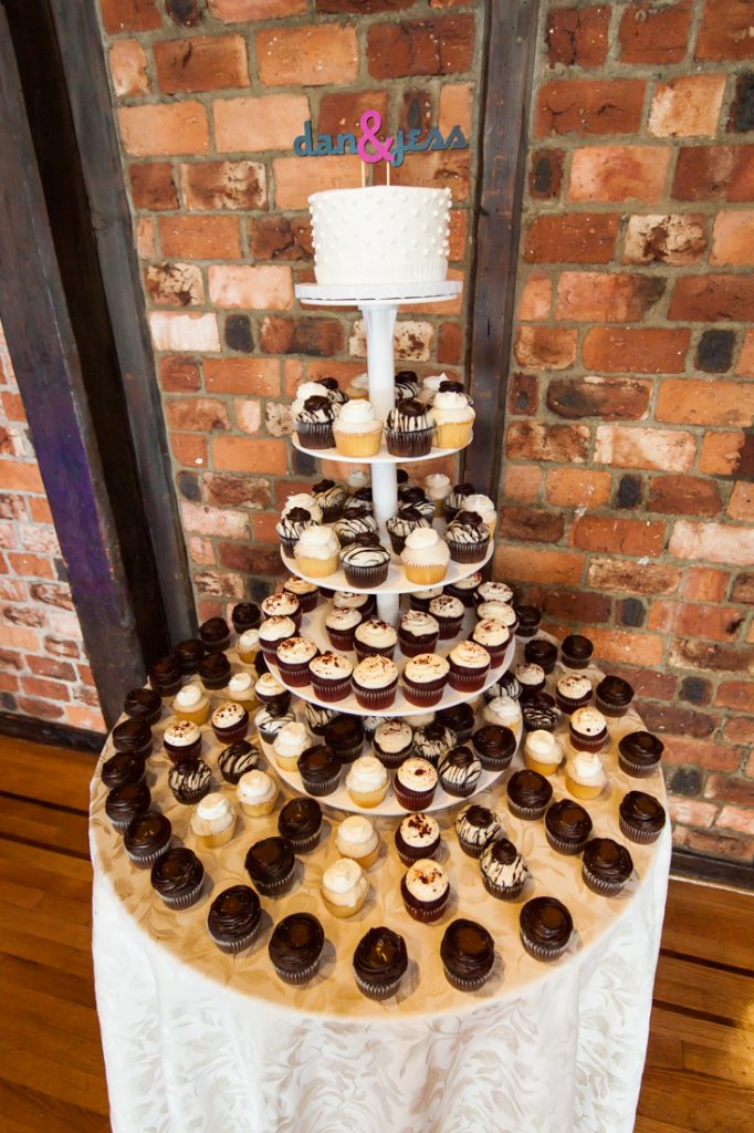 Tower of cupcakes at Riviera Waterfront Mansion wedding