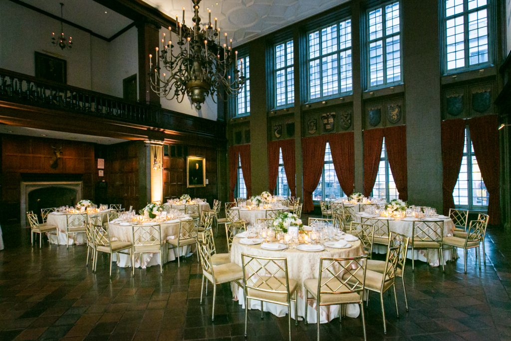 Wide shot of reception room at Harvard Club