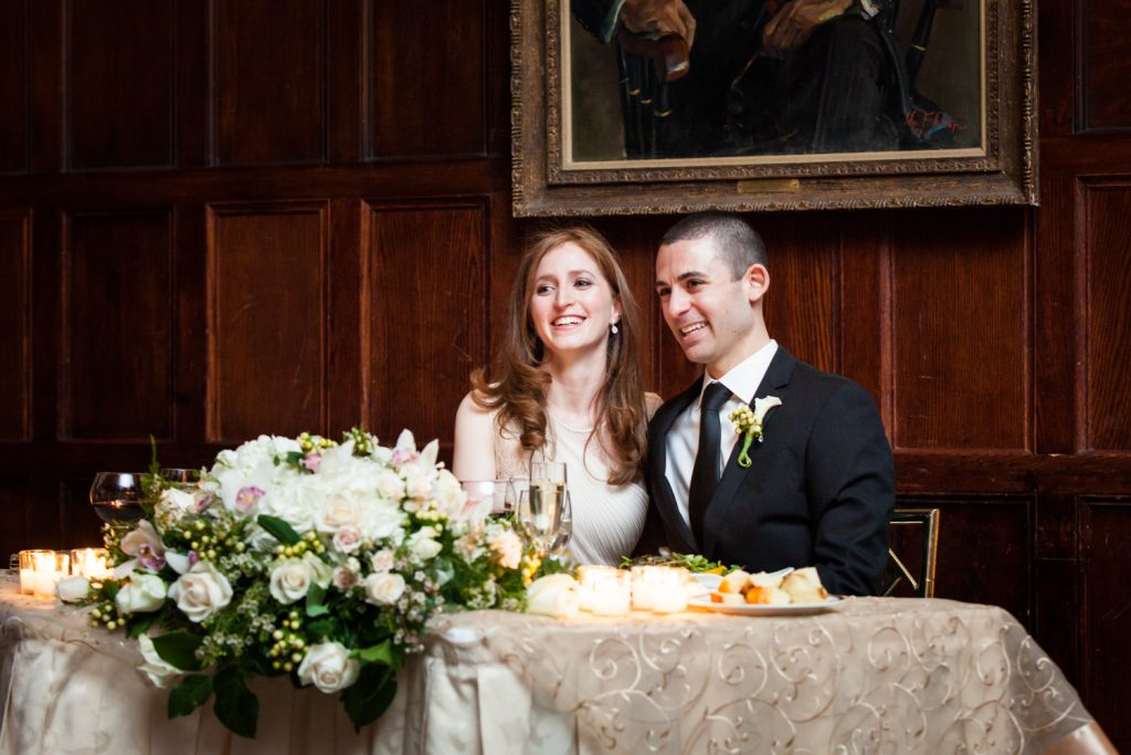 Harvard Club wedding photos of bride and groom at sweetheart table