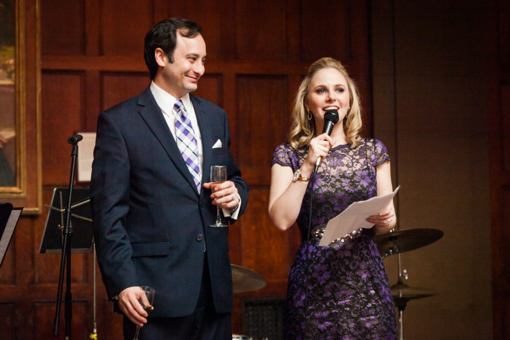 Harvard Club wedding photos of maid of honor and husband making speech