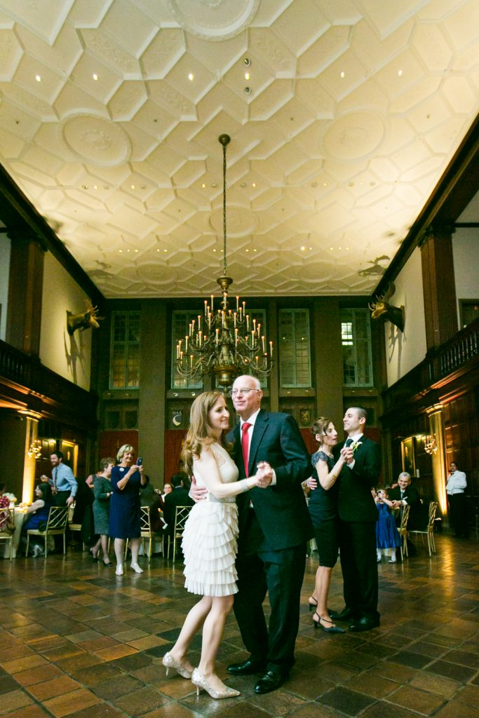 Harvard Club wedding photos of bride and groom dancing with parents