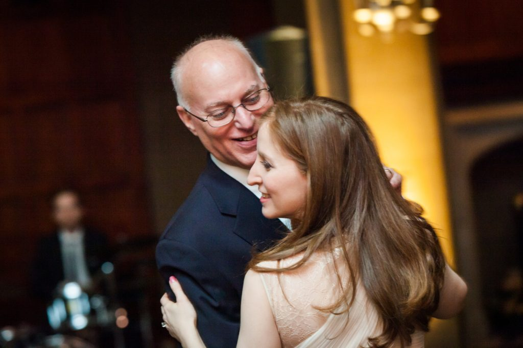 Harvard Club wedding photos of bride dancing with father