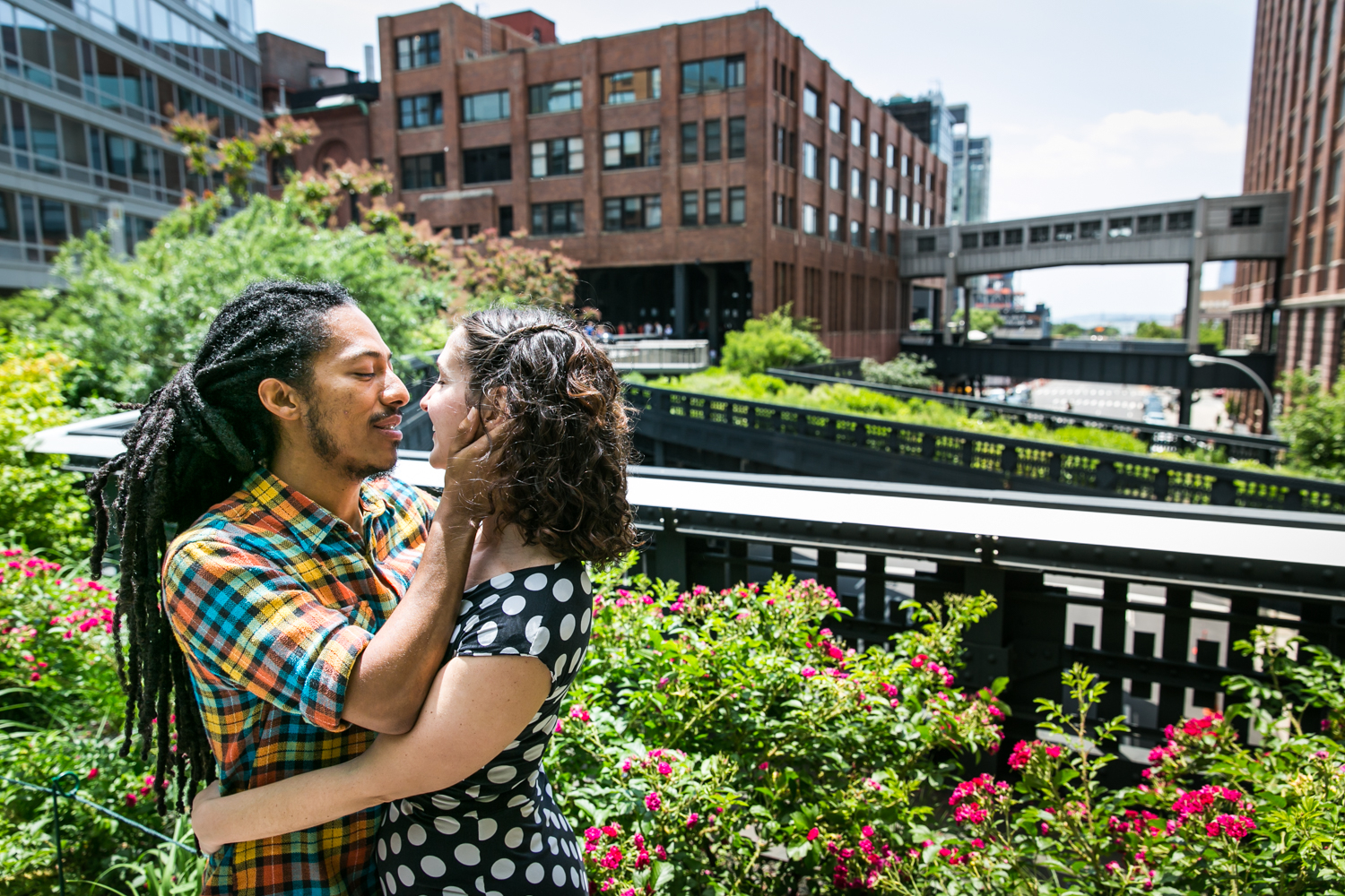 Man touching woman's face on the High Line