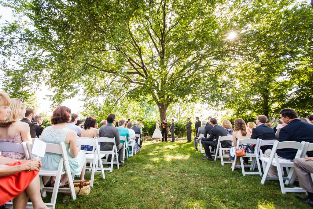 Wide shot of wedding ceremony at a Round Hill House wedding