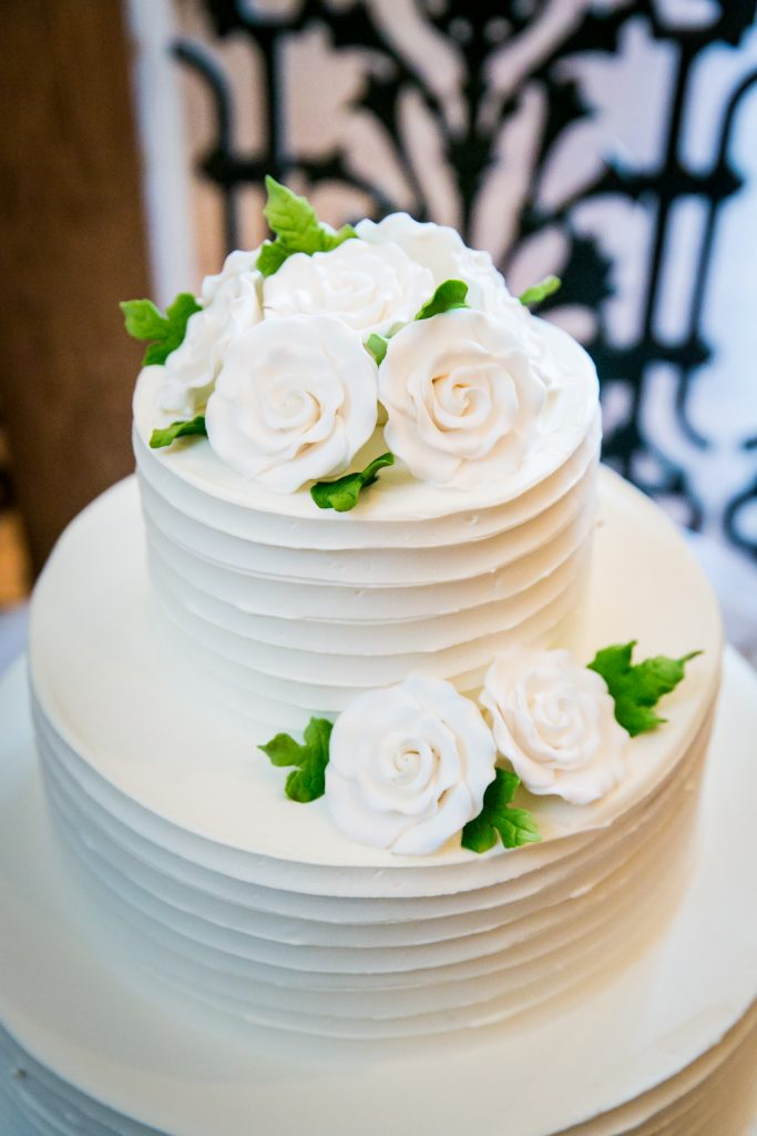 Close up on wedding cake with flowers made of frosting
