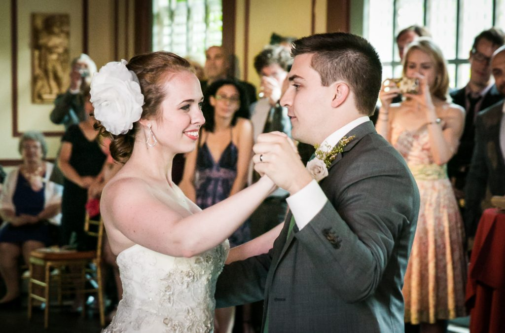 Bride and groom during first dance at a Round Hill House wedding
