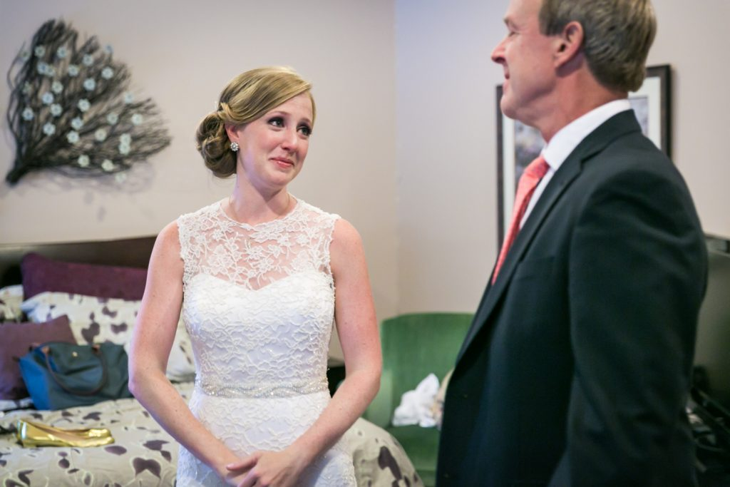 Bride looking at her father