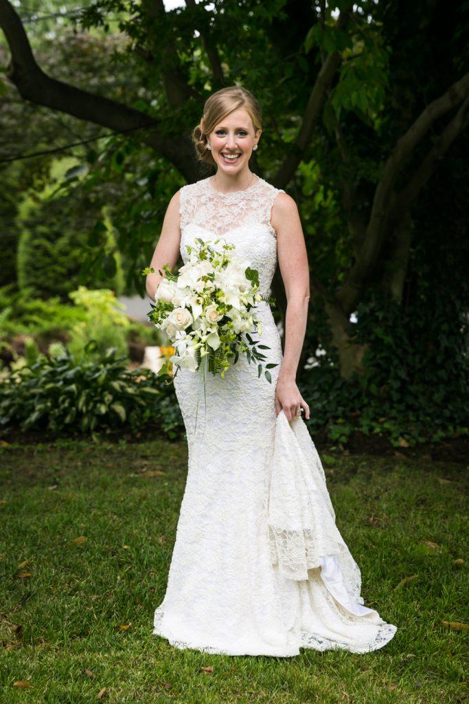 Full length portrait of bride in wedding dress