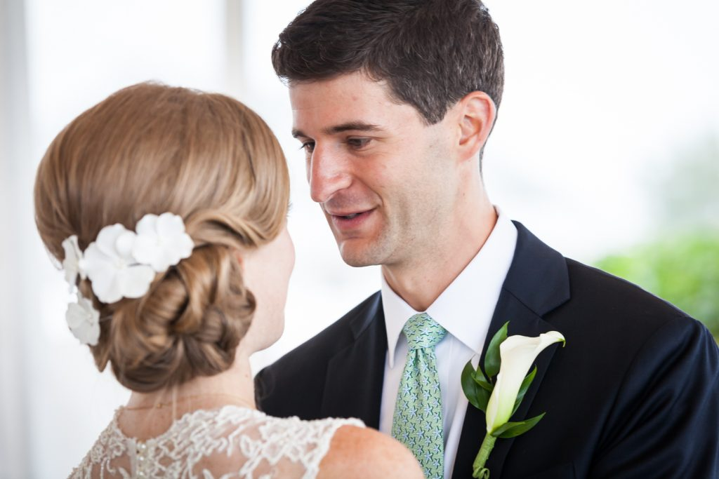 Groom looking at bride at an American Yacht Club wedding