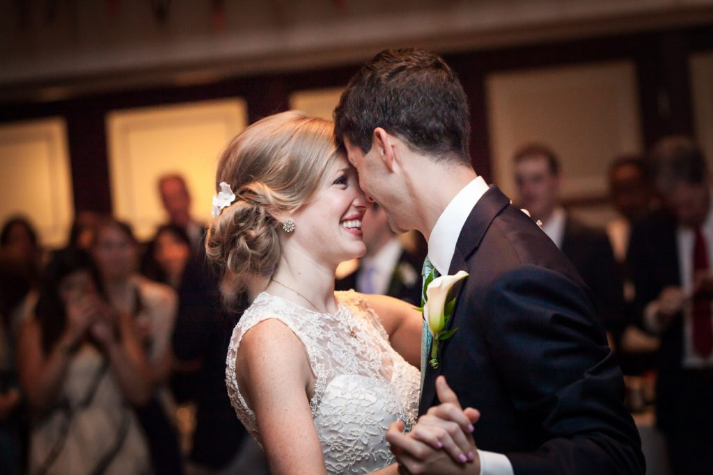 Bride and groom during first dance at an American Yacht Club wedding