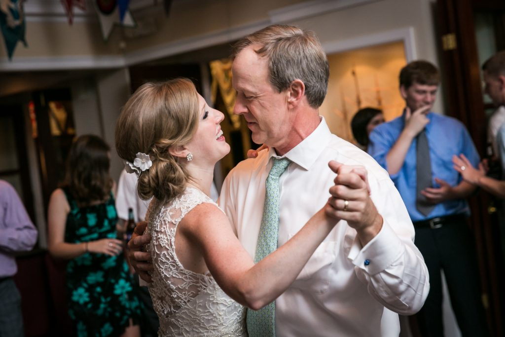 Bride dancing with father at an American Yacht Club wedding