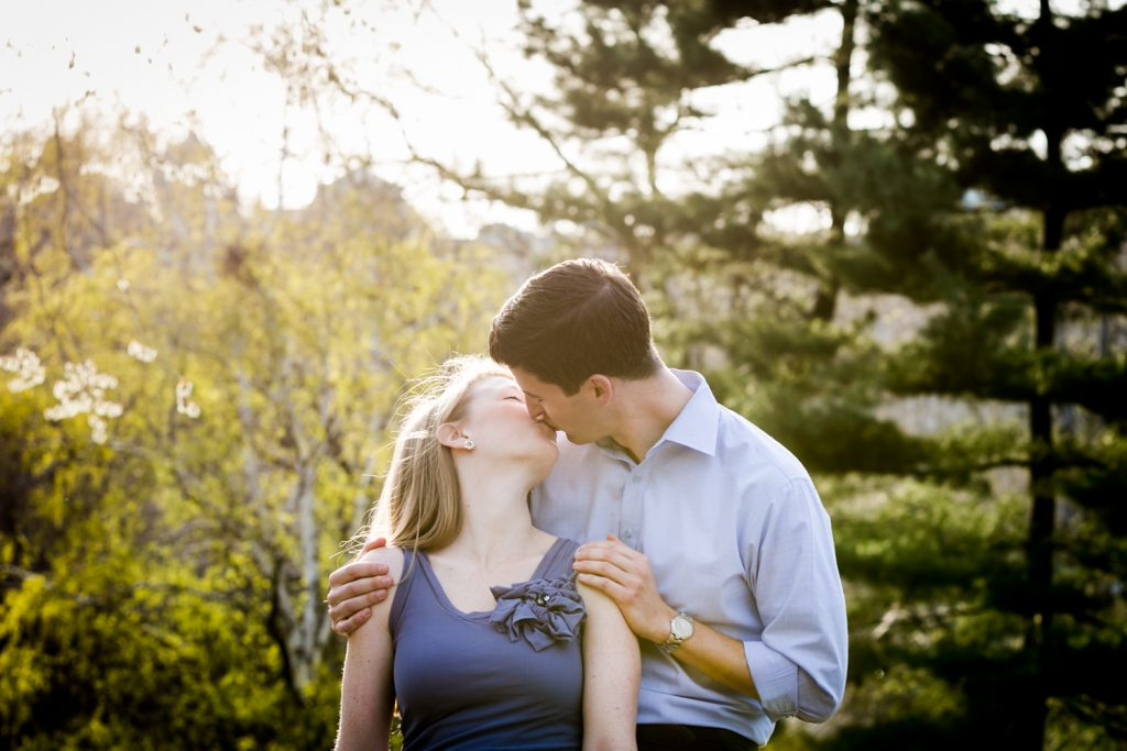 Couple kissing passionately in Central Park