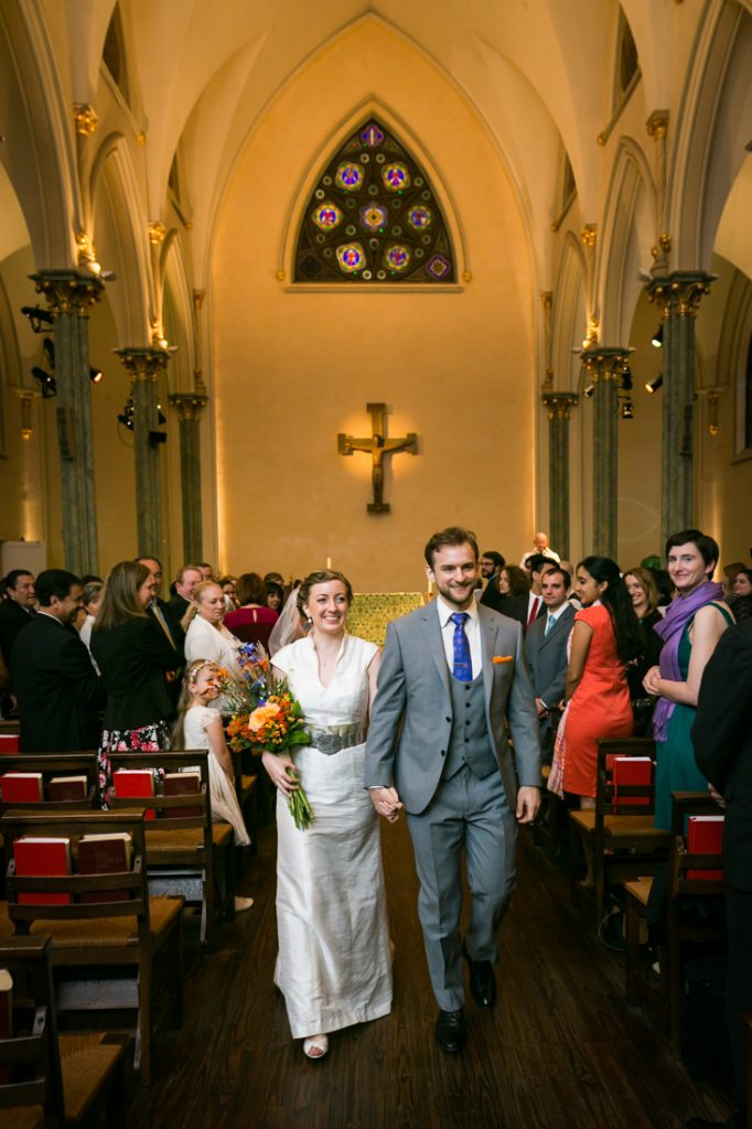 Bride and groom exiting church after Oratory of St. Boniface ceremony
