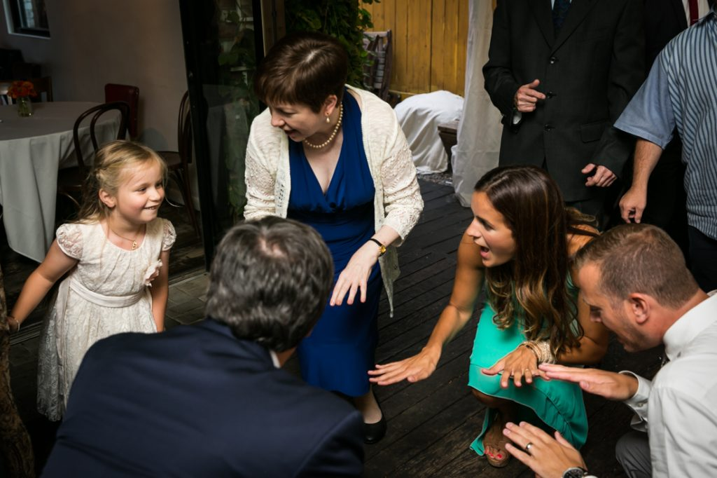 Guests dancing with little girl during Farm on Adderley wedding reception