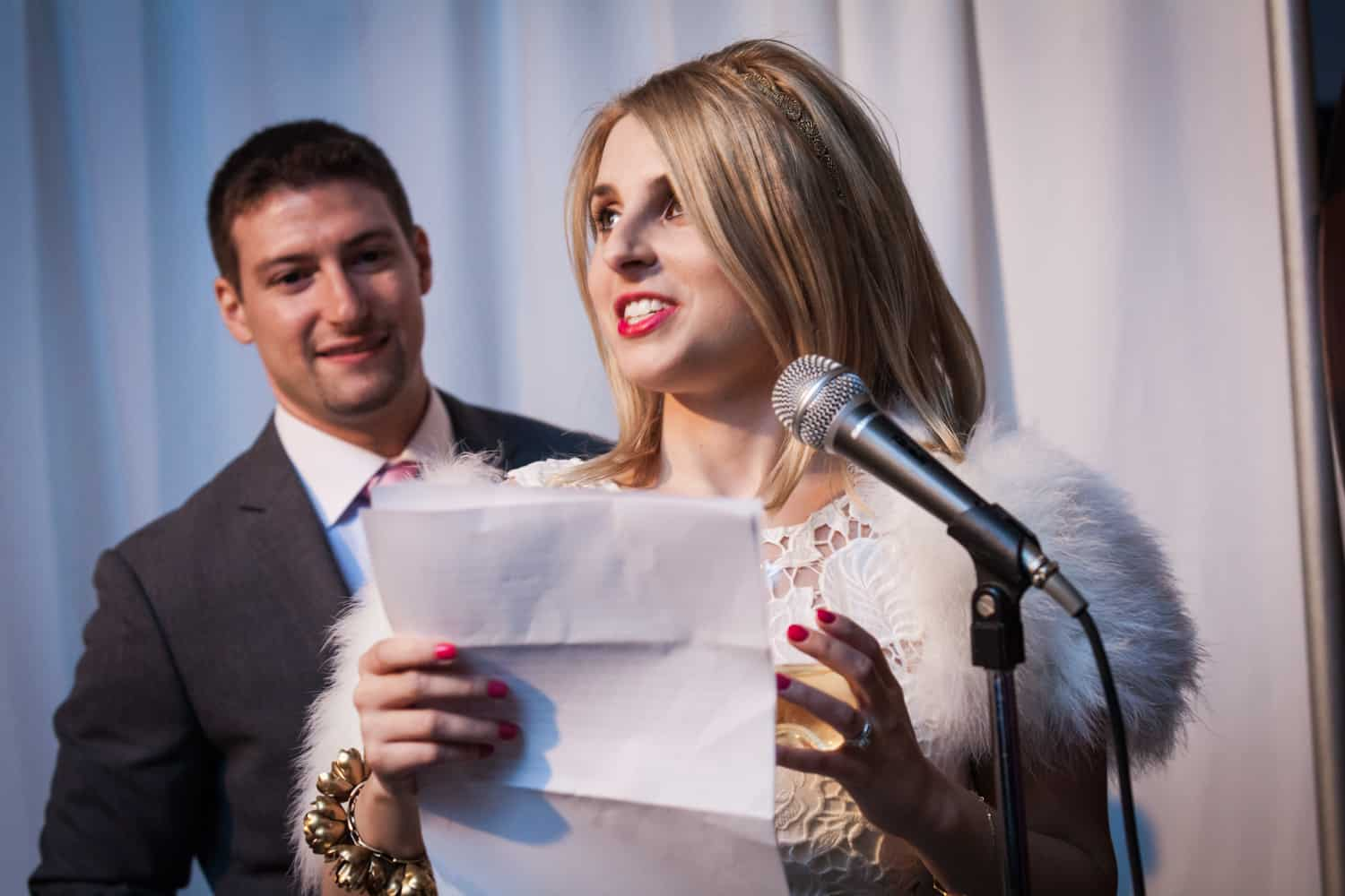 Bride making a speech at a Housing Works wedding