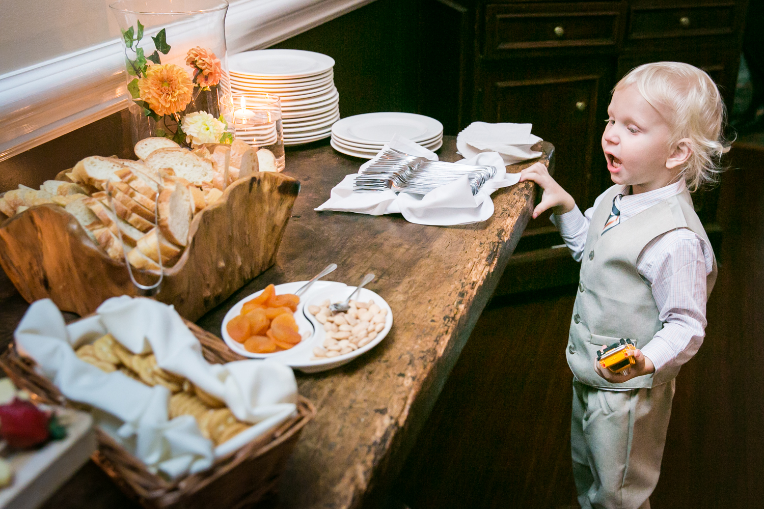 Little boy amazed by food at buffet