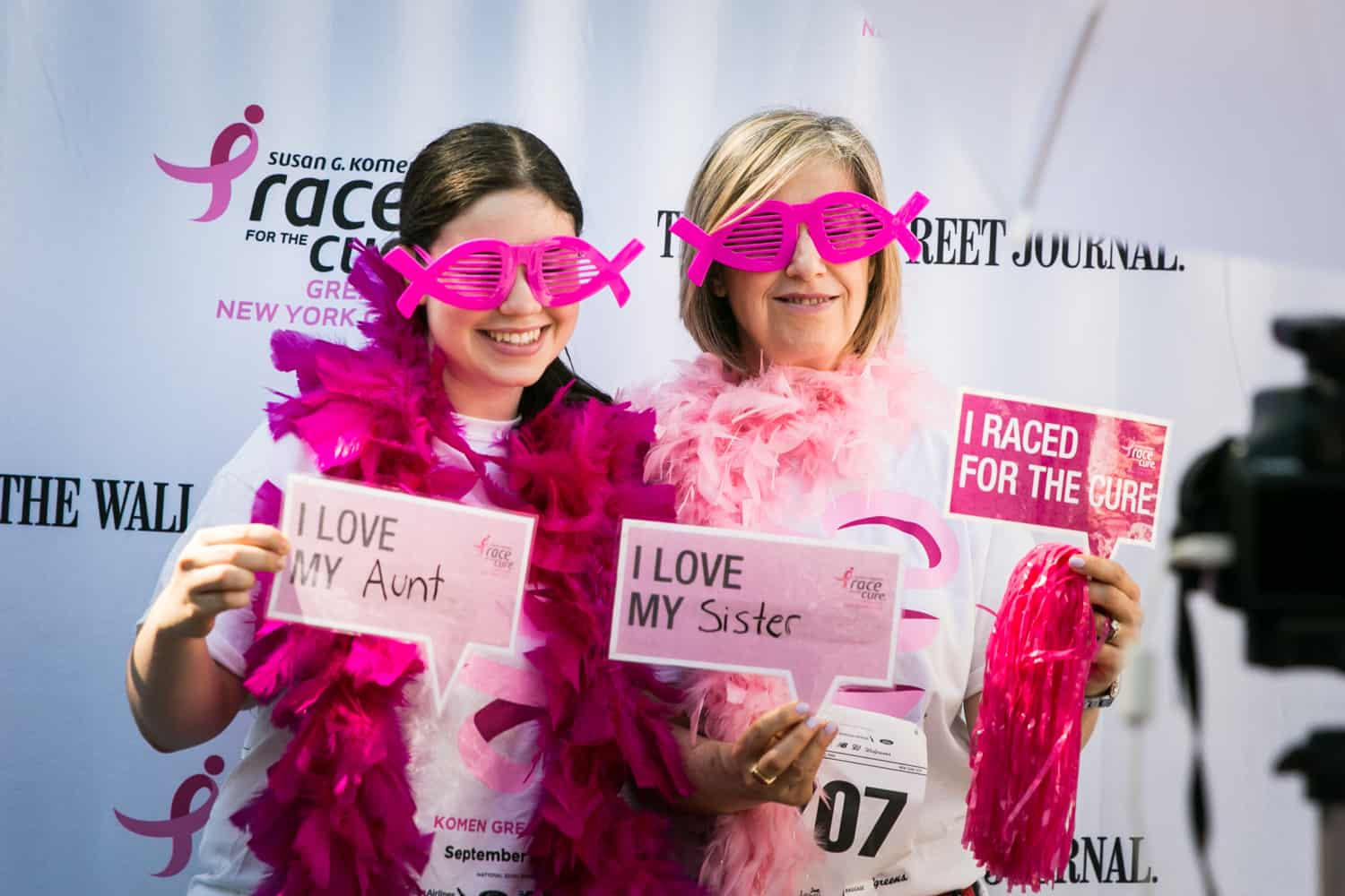 NYC Race for the Cure photos of two women clowning around at photobooth