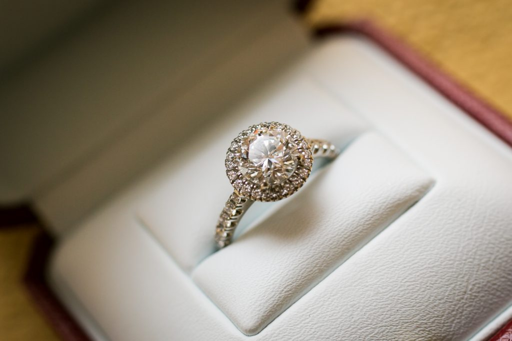 Cartier engagement ring for a University Club wedding