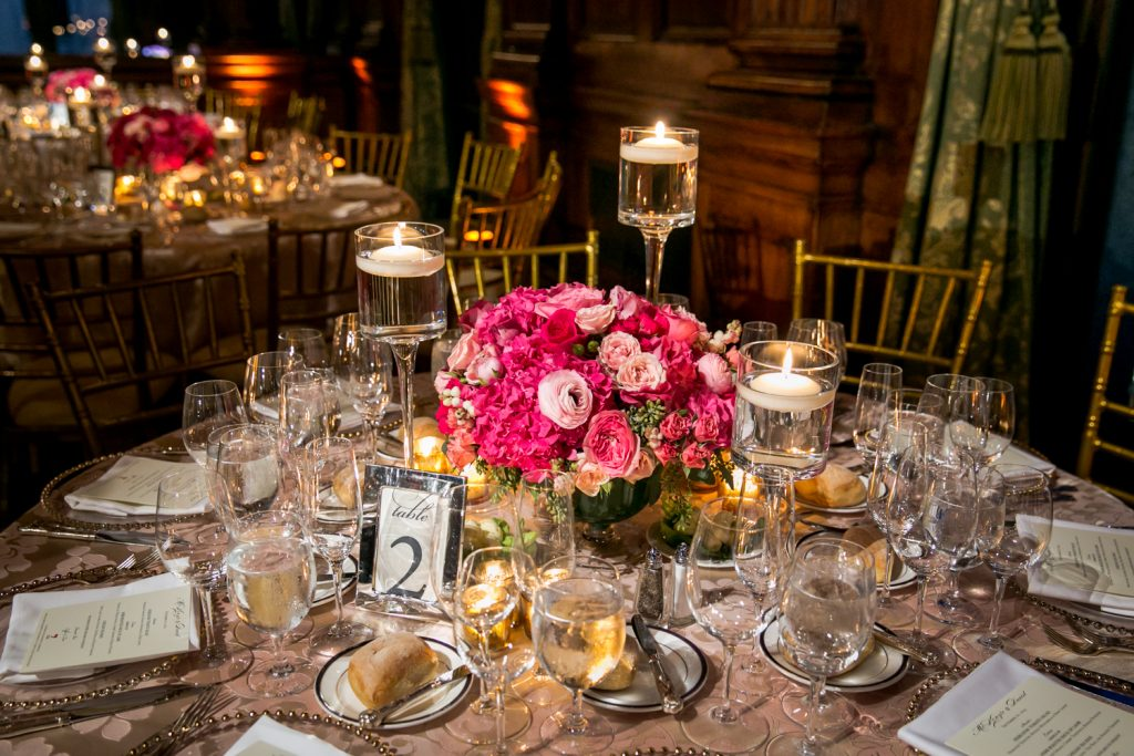 Table setting for a a University Club wedding reception