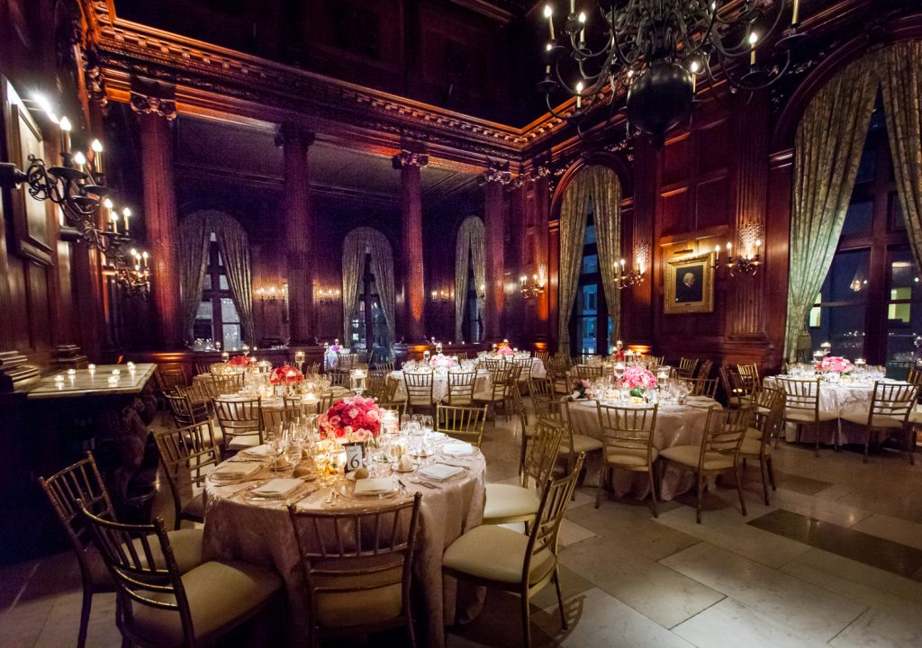 Reception room with tables for a University Club wedding