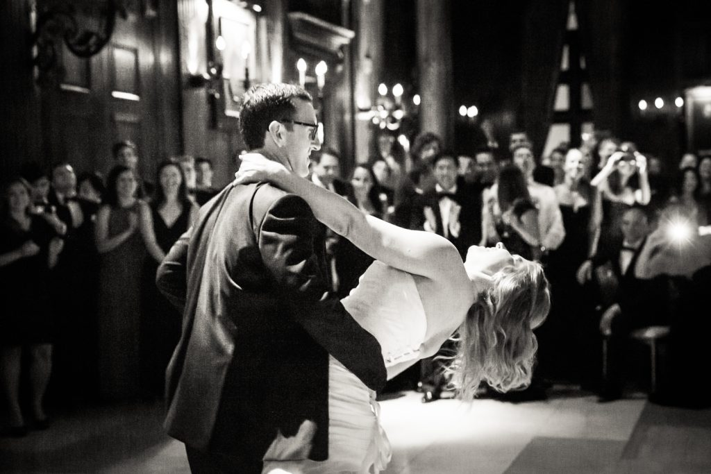Bride and groom during first dance at a University Club wedding