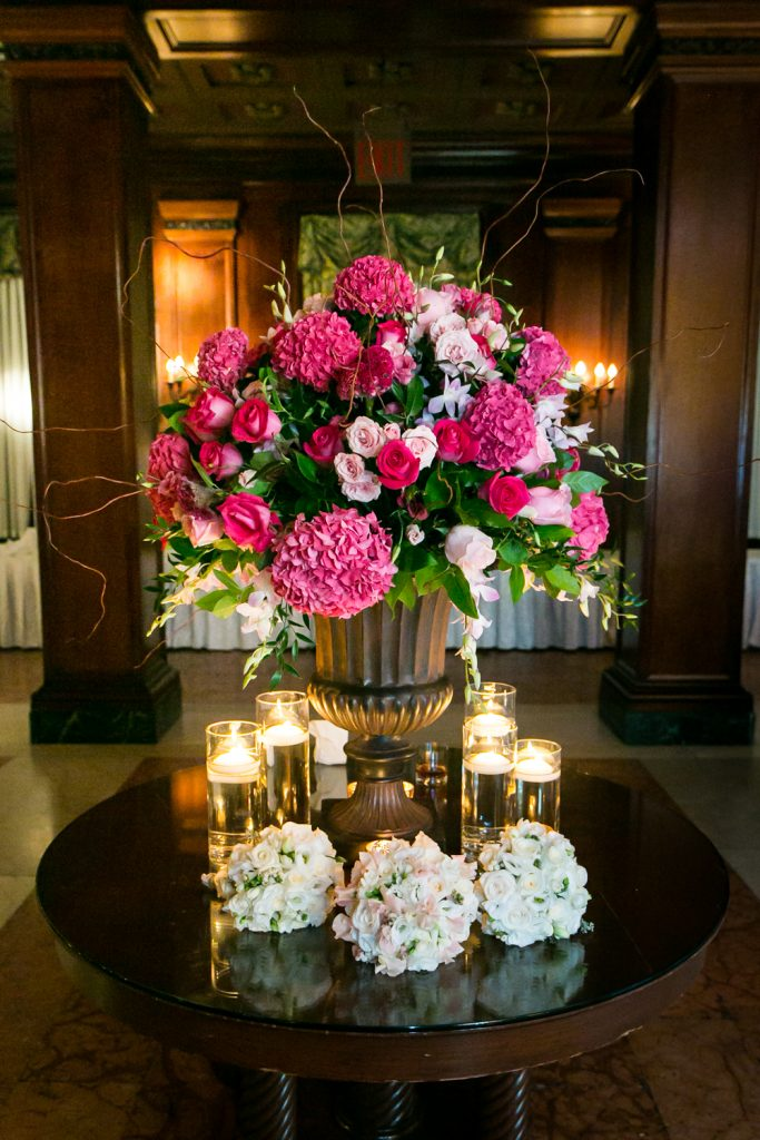 Flower bouquets at a University Club wedding