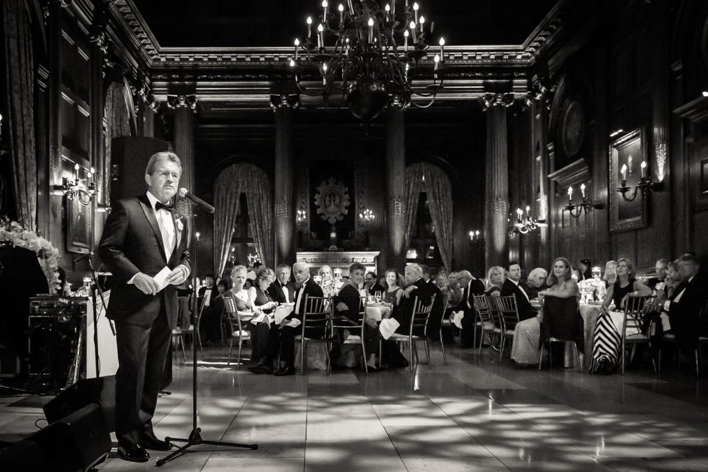 Father giving speech at a University Club wedding