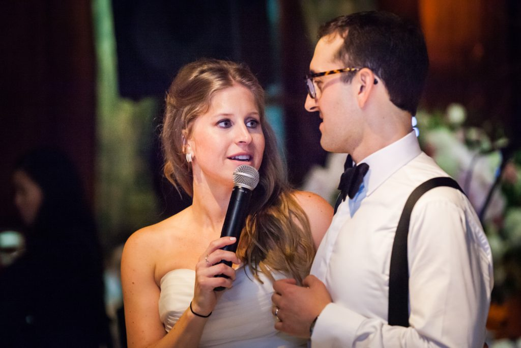 Bride and groom giving speech at a University Club wedding