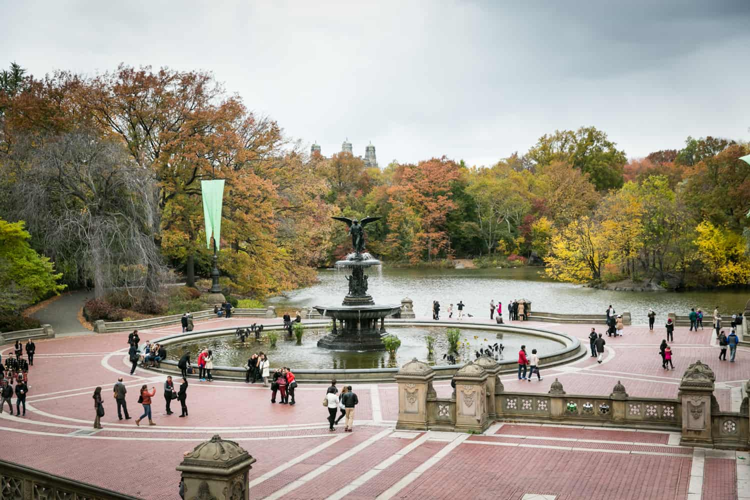 View of Bethesda Terrace in Central Park in fall