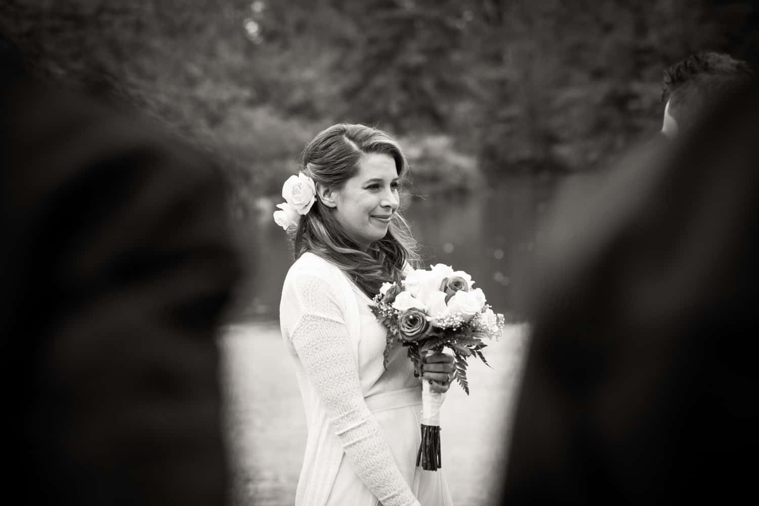 Black and white photo of bride during Bethesda Fountain wedding