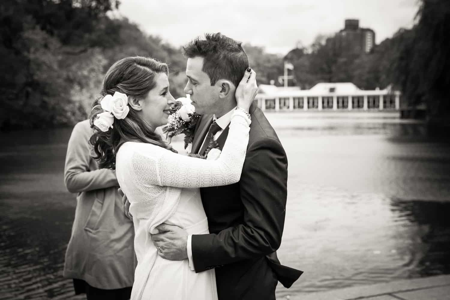 Black and white photo of bride and groom after Bethesda Fountain ceremony
