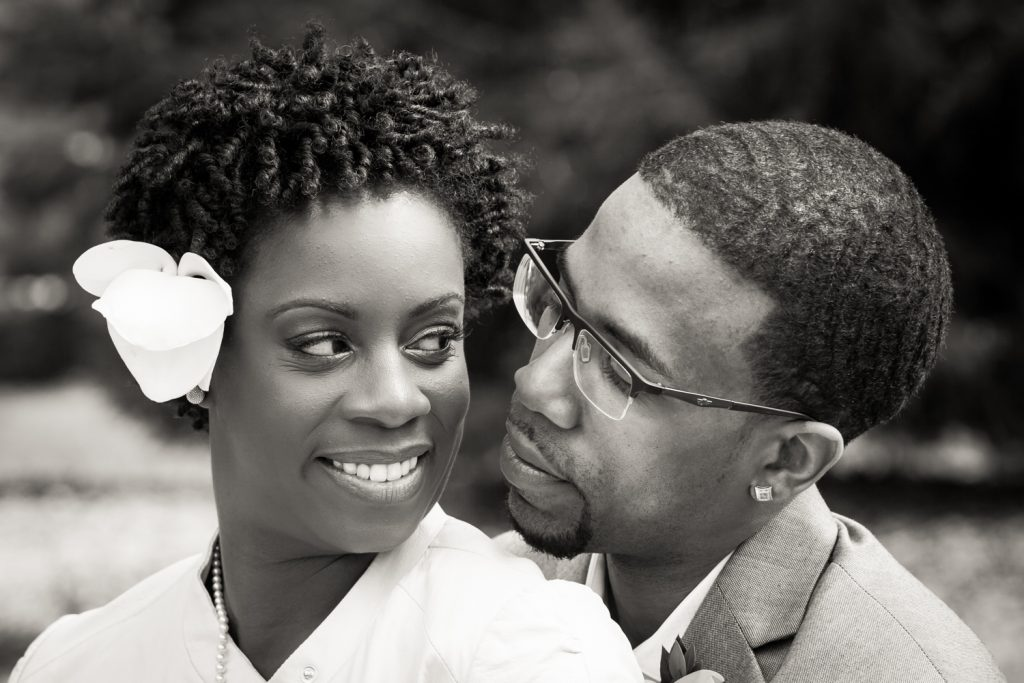 Black and white portrait of bride and groom at a Flushing Meadows Corona Park wedding