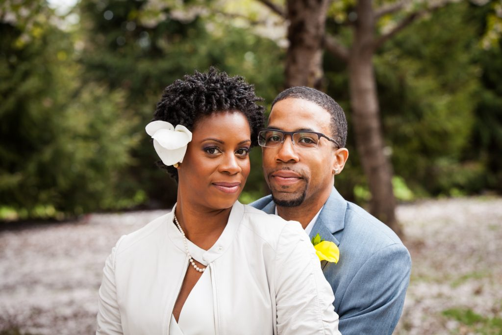 Portrait of bride and groom at a Flushing Meadows Corona Park wedding