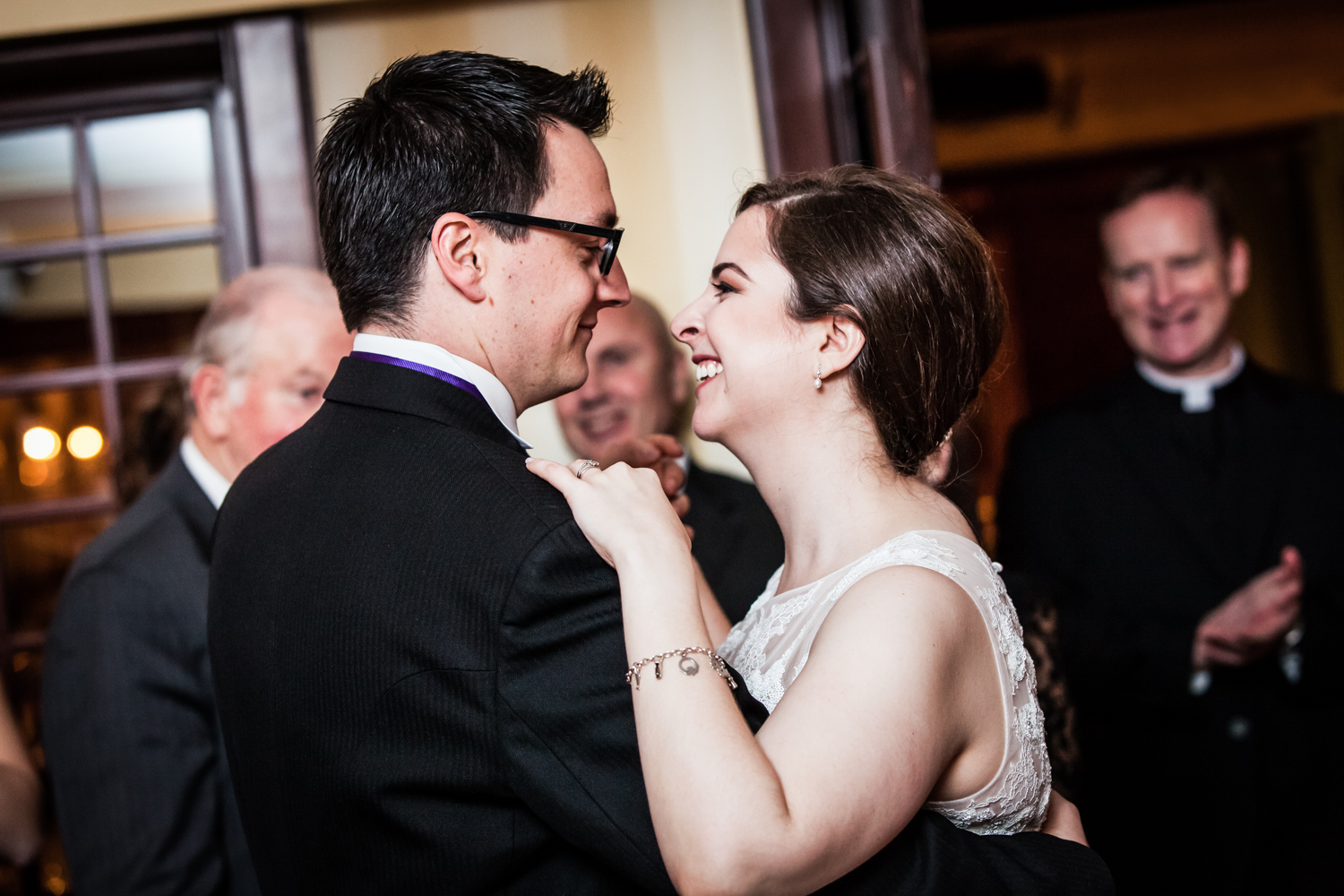 Bride and groom during first dance at a Nassau Inn wedding