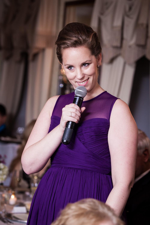 Maid of honor making speech at a Nassau Inn wedding