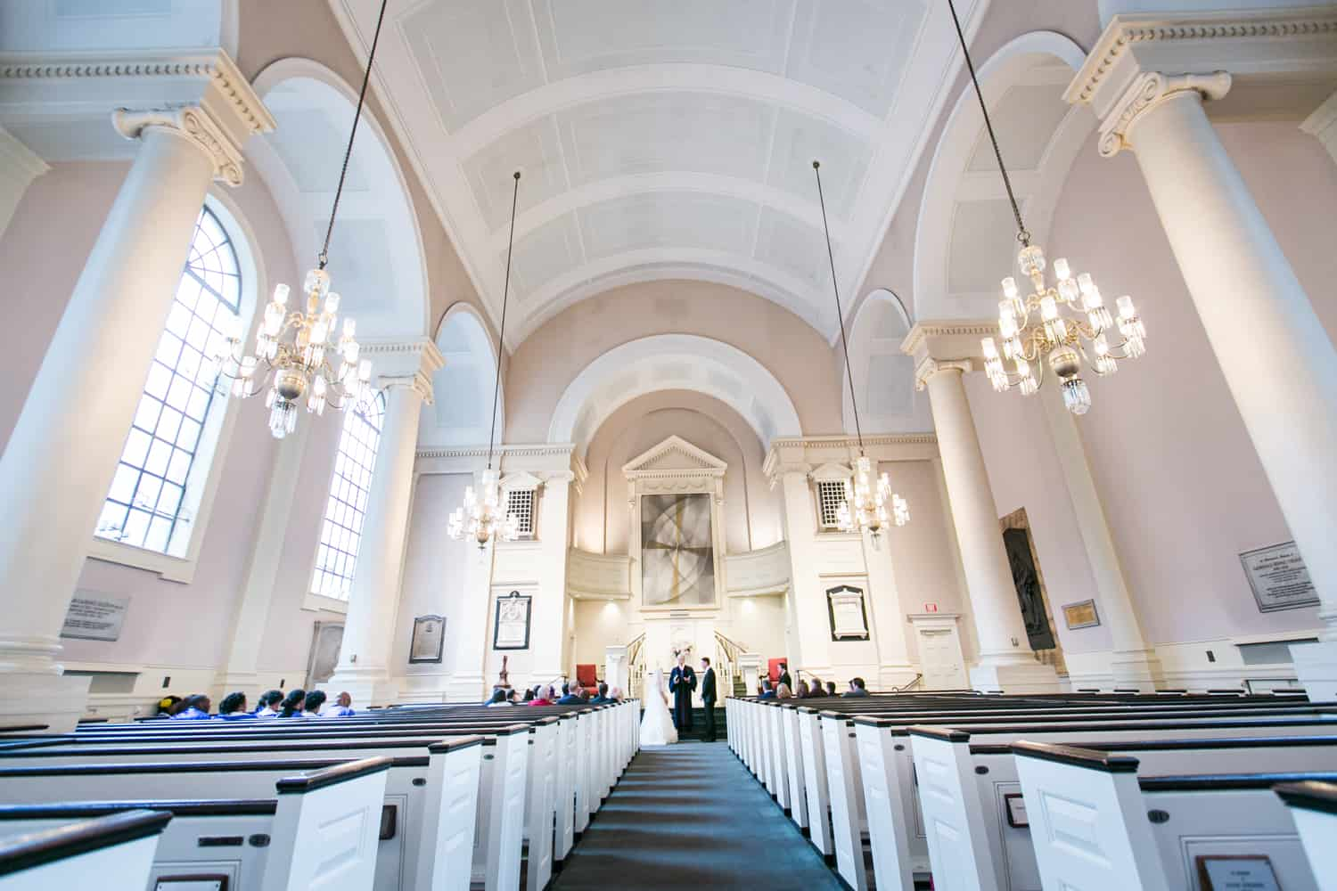 Wide shot of church interior during All Souls Unitarian Church ceremony