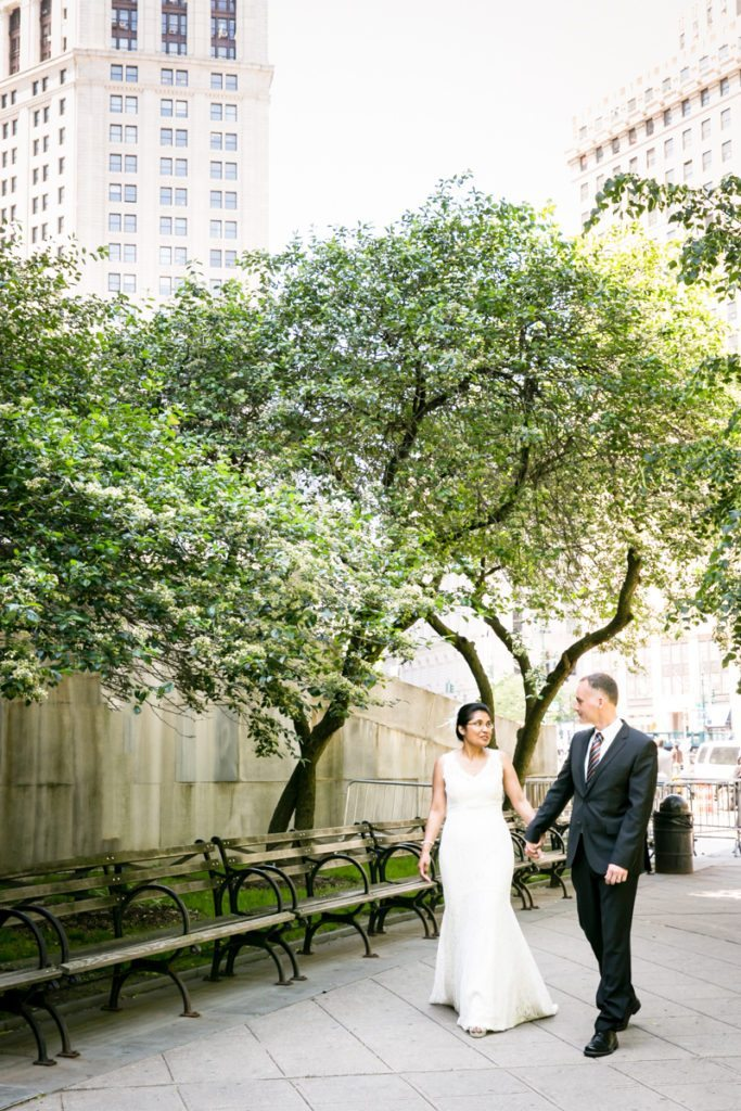 Portrait of a bride and groom, by NYC City Hall wedding photographer, Kelly Williams